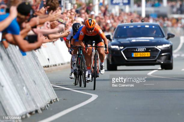 Arrival / Sprint / Amy Pieters of Netherlands / Elena Cecchini of Italy / Lisa Klein of Germany / during the 25th UEC Road European Championships...
