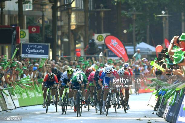 Arrival / Sprint / Arnaud Demare of France and Team Groupama FDJ / Elia Viviani of Italy and Team Quick Step Floors / Alexander Kristoff of Norway...