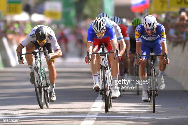 Arrival / Sprint / Arnaud Demare of France and Team Groupama FDJ / Fernando Gaviria of Colombia and Team QuickStep Floors / Peter Sagan of Slovakia...