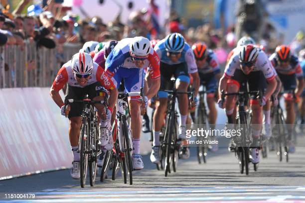 Arrival / Sprint / Caleb Ewan of Australia and Team Lotto Soudal / Arnaud Demare of France and Team Groupama FDJ / Davide Cimolai of Italy and Team...