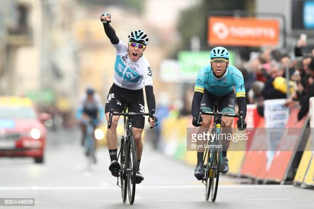 Arrival / Sprint / David De La Cruz of Spain and Team Sky Celebration Omar Fraile Matarranz of Spain and Astana Pro Team during the 76th Paris Nice...