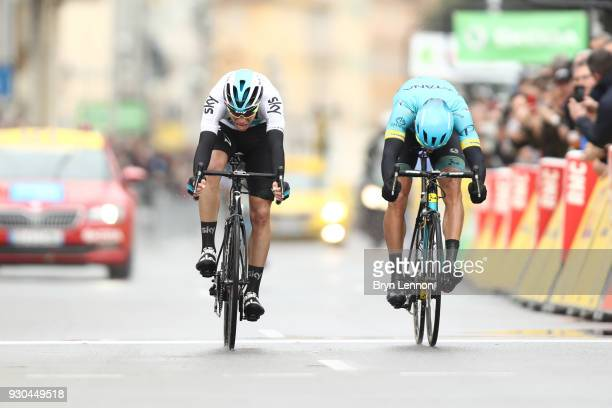 Arrival / Sprint / David De La Cruz of Spain and Team Sky Omar Fraile Matarranz of Spain and Astana Pro Team during the 76th Paris Nice 2018 Stage 8...