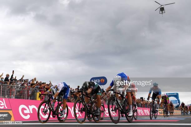 Arrival / Sprint / Davide Ballerini of Italy and Team Deceuninck - Quick-Step / Peter Sagan of Slovakia and Team Bora - Hansgrohe / Arnaud Demare of...