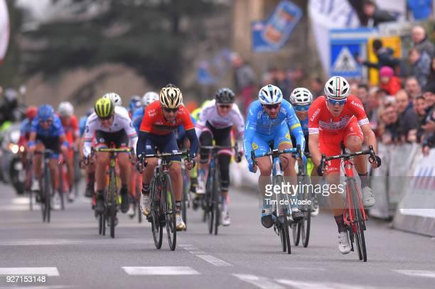 Arrival / Sprint / Davide Ballerini of Italy / Giovanni Visconti of Italy / Mauro Finetto of Italy / Larciano Larciano on March 4 2018 in Larciano...