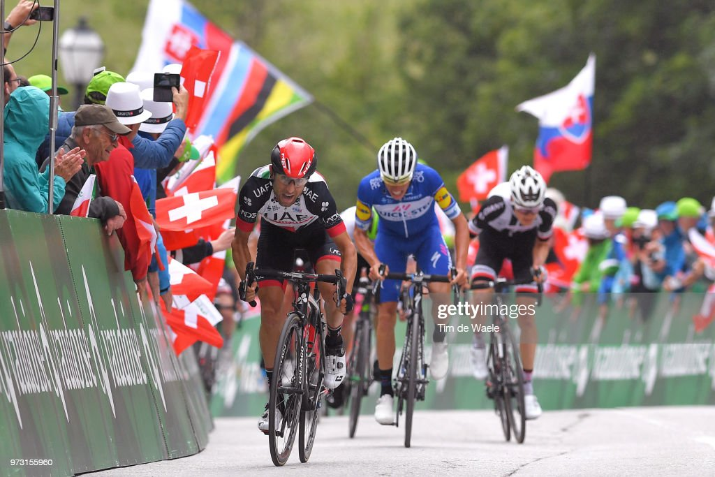 Arrival / Sprint / Diego Ulissi of Italy and UAE Team Emirates / Enric Mas of Spain and Team Quick-Step Floors / Wilco Kelderman of The Netherlands and Team Sunweb / during the 82nd Tour of Switzerland 2018, Stage 5 a 155,7km stage from Gstaad to Leukerbad 1385m on June 13, 2018 in Leukerbad, Switzerland.