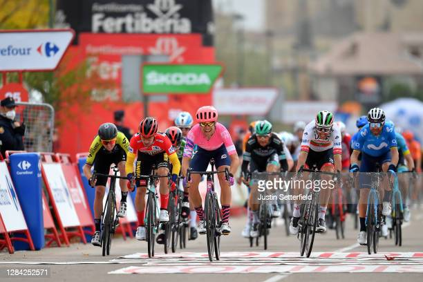 Arrival / Sprint / Dion Smith of New Zealand and Team Mitchelton - Scott / Primoz Roglic of Slovenia and Team Jumbo - Visma Red Leader Jersey /...
