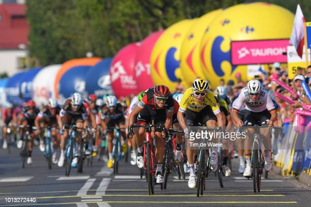 Arrival / Sprint / Dylan Teuns of Belgium and Bmc Racing Team / Michal Kwiatkowski of Poland and Team Sky Yellow Leader Jersey / Pascal Ackermann of...