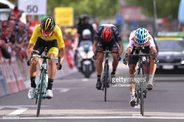 Arrival / Sprint / Egan Arley Bernal Gomez of Colombia and Team Sky White Best Young Rider Jersey / Primoz Roglic of Slovenia and Team LottoNLJumbo...