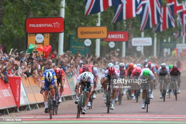 Arrival / Sprint / Elia Viviani of Italy and Team Deceuninck QuickStep / Michael Morkov of Denmark and Team Deceuninck QuickStep / Amund Jansen of...
