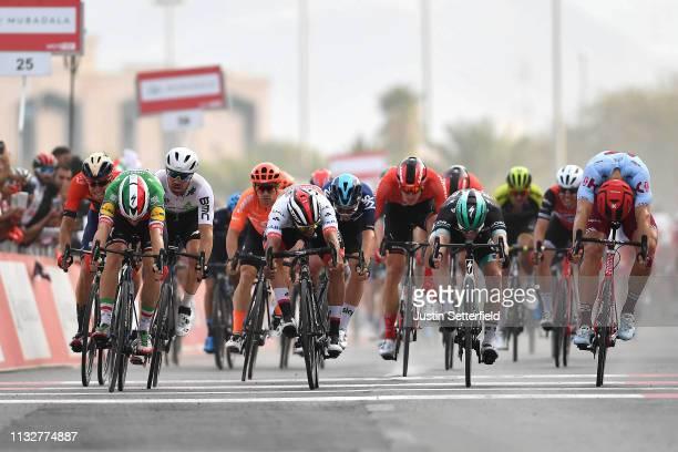 Arrival / Sprint / Elia Viviani of Italy and Team DeceuninckQuickStep / Sam Bennett of Ireland and Team BoraHansgrohe / Reinardt Janse Van Rensburg...