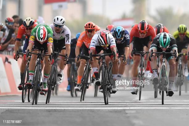 Arrival / Sprint / Elia Viviani of Italy and Team Deceuninck-QuickStep / Sam Bennett of Ireland and Team Bora-Hansgrohe / Reinardt Janse Van Rensburg...