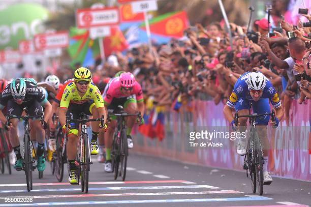 Arrival / Sprint / Elia Viviani of Italy and Team QuickStep Floors / Jakub Mareczko of Italy and Team Wilier TriestinaSelle Italia / Sam Bennett of...