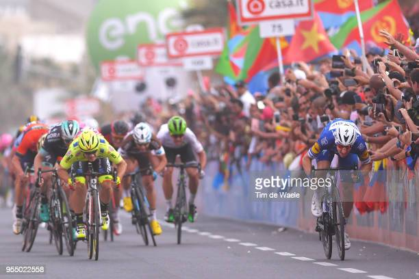 Arrival / Sprint / Elia Viviani of Italy and Team Quick-Step Floors / Jakub Mareczko of Italy and Team Wilier Triestina-Selle Italia / Sam Bennett of...