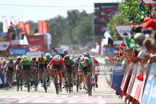 Arrival / Sprint / Elia Viviani of Italy and Team QuickStep Floors / Peter Sagan of Slovakia and Team Bora Hansgrohe / Giacomo Nizzolo of Italy and...