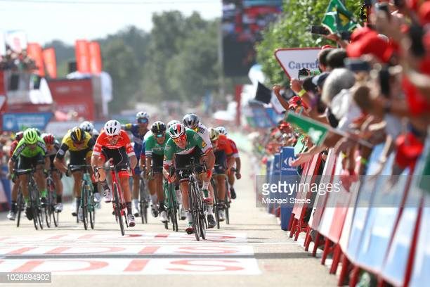 Arrival / Sprint / Elia Viviani of Italy and Team Quick-Step Floors / Peter Sagan of Slovakia and Team Bora - Hansgrohe / Giacomo Nizzolo of Italy...