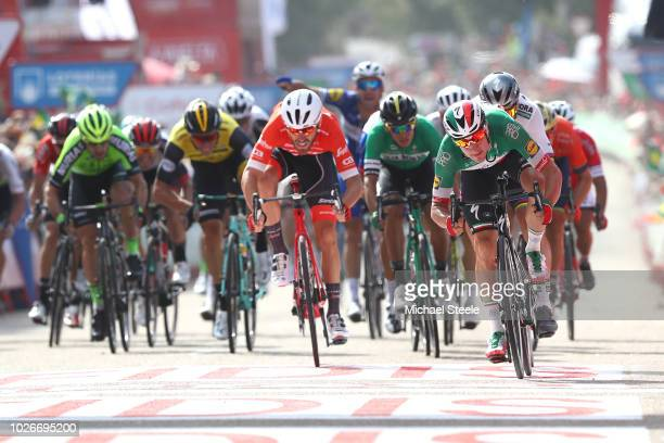 Arrival / Sprint / Elia Viviani of Italy and Team Quick-Step Floors / Peter Sagan of Slovakia and Team Bora - Hansgrohe / Giacomo Nizzolo of Italy...