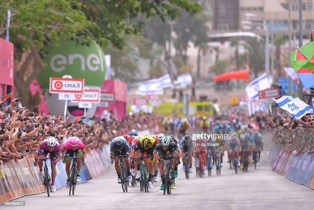 Arrival / Sprint / Elia Viviani of Italy and Team Quick-Step Floors Purple Points Jersey / Sacha Modolo of Italy and Team EF Education First-Drapac p/b Cannondale / Sam Bennett of Ireland and Team Bora-Hansgrohe / Jakub Mareczko of Italy and Team Wilier Triestina-Selle Italia / during the 101th Tour of Italy 2018, Stage 3 a 229km stage from Be'er Sheva to Eilat / Giro d'Italia / on May 6, 2018 in Eilat, Israel.