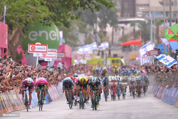 Arrival / Sprint / Elia Viviani of Italy and Team QuickStep Floors Purple Points Jersey / Sacha Modolo of Italy and Team EF Education FirstDrapac p/b...