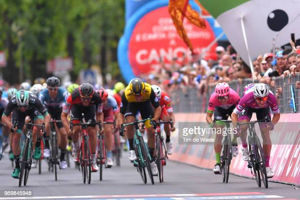 Arrival / Sprint / Elia Viviani of Italy and Team QuickStep Floors Purple Points Jersey / Sam Bennett of Ireland and Team BoraHansgrohe / Danny Van...