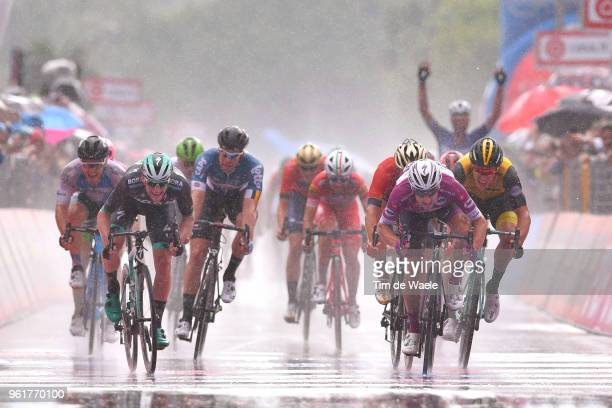 Arrival / Sprint / Elia Viviani of Italy and Team Quick-Step Floors Purple Points Jersey / Sam Bennett of Ireland and Team Bora-Hansgrohe / Niccolo...