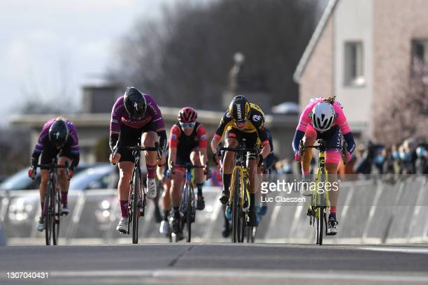 Arrival / Sprint / Elisa Balsamo of Italy and Team Valcar - Travel & Service, Jolien D'hoore of Belgium and Team SD Worx & Marianne Vos of...