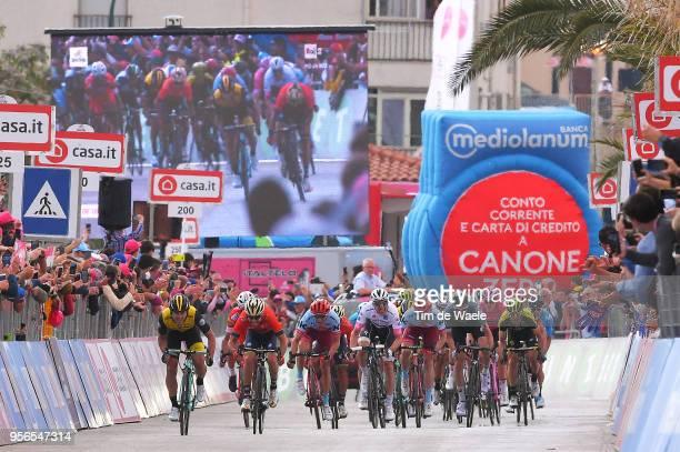 Arrival / Sprint / Enrico Battaglin of Italy and Team LottoNL-Jumbo / Giovanni Visconti of Italy and Team Bahrain-Merida / Jose Goncalves of Portugal...