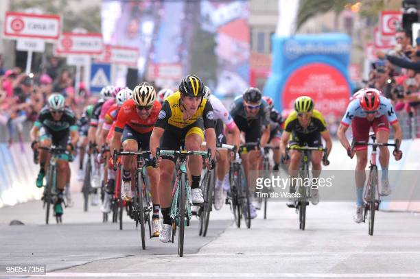 Arrival / Sprint / Enrico Battaglin of Italy and Team LottoNL-Jumbo / Giovanni Visconti of Italy and Team Bahrain-Merida / during the 101th Tour of...