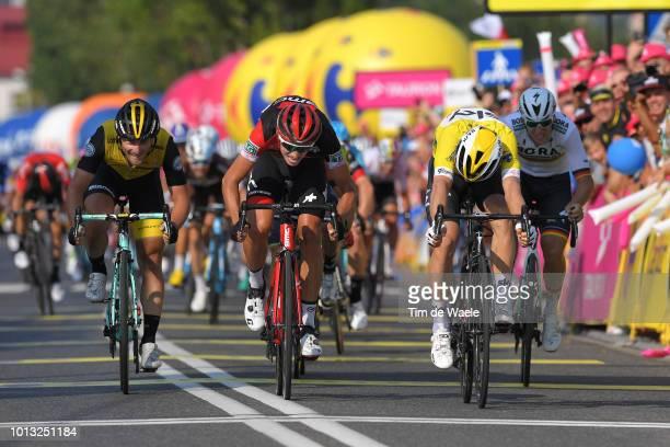 Arrival / Sprint / Enrico Battaglin of Italy anf Team Lotto Nl - Jumbo / Dylan Teuns of Belgium and Bmc Racing Team / Michal Kwiatkowski of Poland...