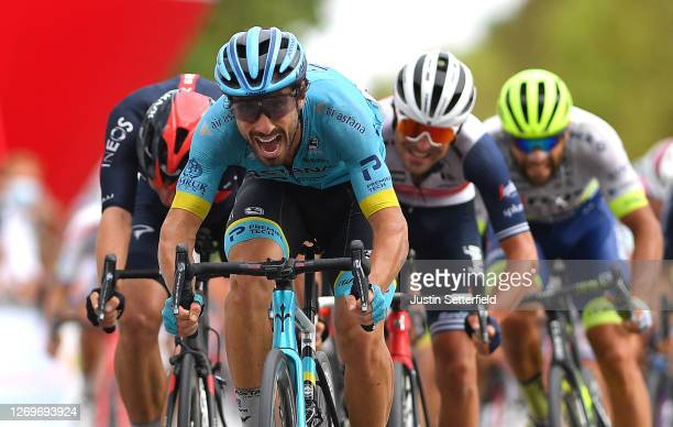 Arrival / Sprint / Ethan Hayter of United Kingdom and Team INEOS Grenadiers / Fabio Felline of Italy and Astana Pro Team / Jacopo Mosca of Italy and...