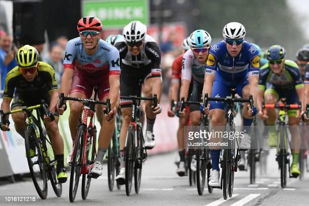 Arrival / Sprint / Fabio Jakobsen of Netherlands and Team Quick Step Floors / Marcel Kittel of Germany and Team KatushaAlpecin / Caleb Ewan of...