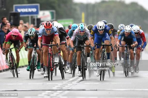 Arrival / Sprint / Fabio Jakobsen of Netherlands and Team Quick Step Floors / Marcel Kittel of Germany and Team KatushaAlpecin / Kristoffer Halvorsen...