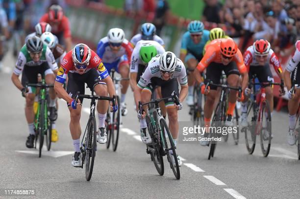 Arrival / Sprint / Fabio Jakobsen of The Netherlands and Team Deceuninck-QuickStep / Sam Bennett of Ireland and Team Bora-Hansgrohe / during the 74th...