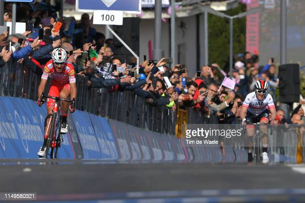 Arrival / Sprint / Fausto Masnada of Italy and Team Androni Giocattoli Sidermec / Valerio Conti of Italy and UAE Team Emirates / Fans / Public /...