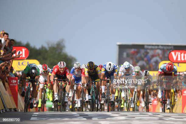Arrival / Sprint / Fernando Gaviria of Colombia and Team Quick-Step Floors / Peter Sagan of Slovakia and Team Bora Hansgrohe Green Sprint Jersey /...