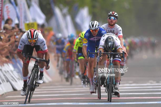 Arrival / Sprint / Fernando Gaviria of Colombia and UAE Team Emirates / Alvaro Hodeg of Colombia and Deceuninck QuickStep Team / Peter Sagan of...