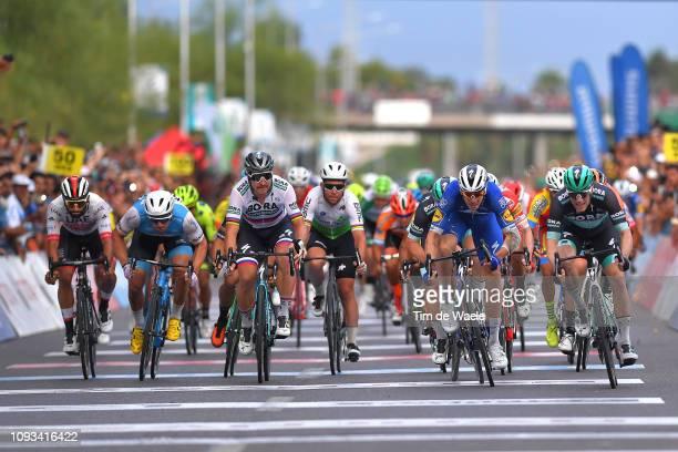 Arrival / Sprint / Fernando Gaviria of Colombia and UAE Team Emirates / Sam Bennett of Ireland and Team Bora-Hansgrohe Celebration / Alvaro Hodeg of...