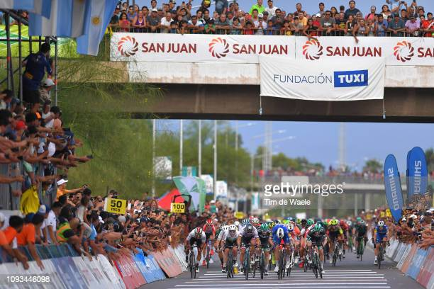 Arrival / Sprint / Fernando Gaviria of Colombia and UAE Team Emirates / Sam Bennett of Ireland and Team Bora-Hansgrohe / Erik Baska of Slovakia and...