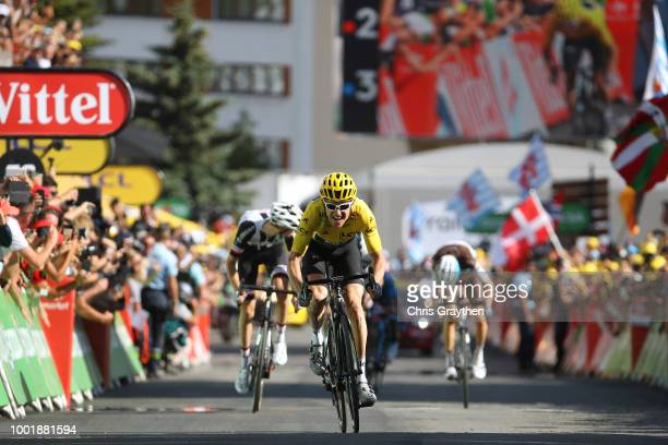 Arrival / Sprint / Geraint Thomas of Great Britain and Team Sky Yellow Leader Jersey / Tom Dumoulin of The Netherlands and Team Sunweb / Romain...