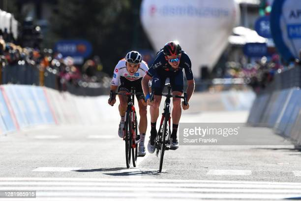 Arrival / Sprint / Jai Hindley of Australia and Team Sunweb White Best Young Rider Jersey / Tao Geoghegan Hart of The United Kingdom and Team INEOS...
