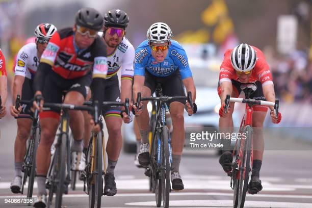 Arrival / Sprint / Jasper Stuyven of Belgium and Team Trek Segafredo / Wout Van Aert of Belgium And Team Veranda's Willems - Crelan / during the...