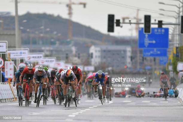 Arrival / Sprint / Jasper Stuyven of Belgium and Team Trek-Segafredo / Matteo Trentin of Italy and Team Mitchelton-Scott / Pascal Ackermann of...