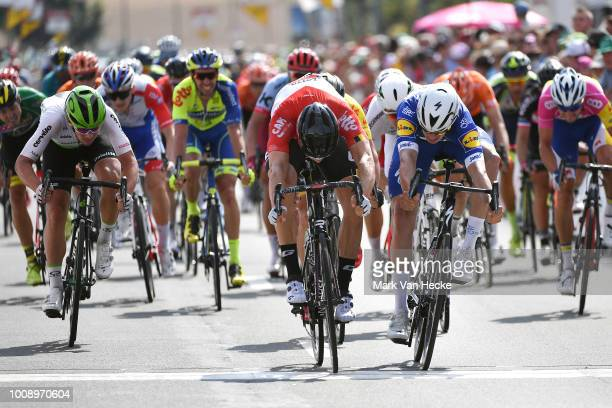 Arrival / Sprint / Jens Debusschereof Belgium and Team Lotto Soudal / Alvaro Jose Hodeg of Colombia and Team Quick-Step Floors / Ryan Gibbons of...