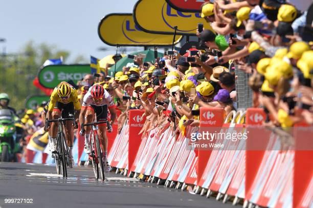 Arrival sprint / John Degenkolb of Germany and Team Trek Segafredo / Greg Van Avermaet of Belgium and BMC Racing Team Yellow Leaders Jersey / Yves...