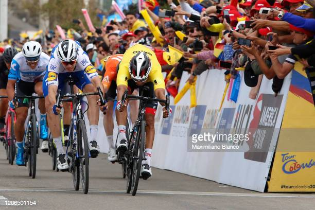 Arrival / Sprint / Juan Sebastian Molano Benavides of Colombia and UAE Team Emirates Yellow Points Jersey / Alvaro Jose Hodeg Chagui of Colombia and...