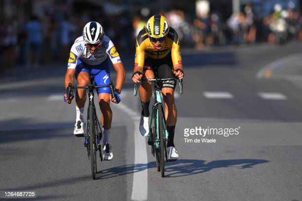 Arrival / Sprint / Julian Alaphilippe of France and Team Deceuninck - Quick-Step / Wout Van Aert of Belgium and Team Team Jumbo - Visma / during the...