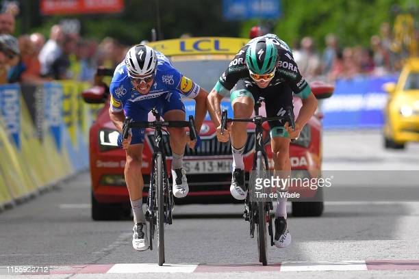 Arrival / Sprint / Julian Alaphilippe of France and Team Deceuninck-QuickStep / Gregor Mühlberger of Austria and Team Bora-Hansgrohe / during the...