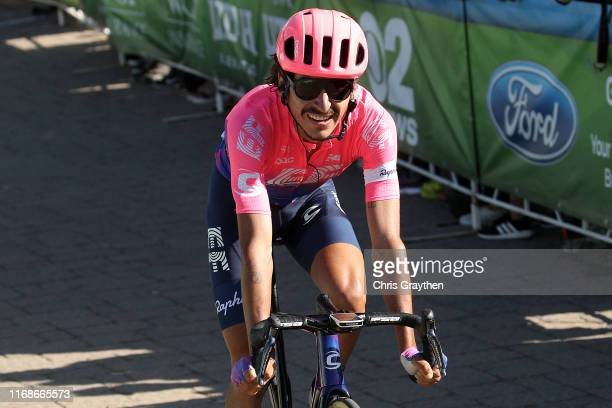 Arrival / Sprint / Lachlan Morton of Australia and Team EF Education First / Hayden McCormick of New Zealand and Team Bridgelane / during the 15th...