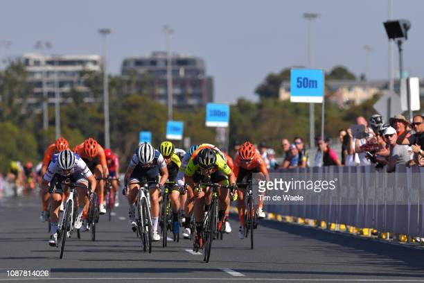 Arrival / Sprint / Lotta Lepisto of Finland and Team Trek-Segafredo / Chloe Hosking of Australia and Team Ale Cipollini / Elisa Longo-Borghini of...