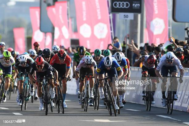 Arrival / Sprint / Luka Mezgec of Slovenia and Team BikeExchange, Caleb Ewan of Australia and Team Lotto Soudal, Phil Bauhaus of Germany and Team...