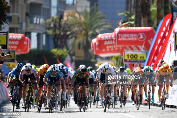 Arrival / Sprint / Manuel Belletti of Italy and Eolo-Kometa Cycling Team, Mark Cavendish of United Kingdom and Team Deceuninck - Quick-Step Turquoise...